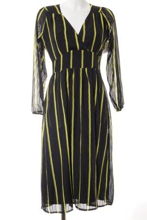 Alice's Pig Vestido largo negro-amarillo estampado a rayas look vintage