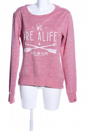 Alife & Kickin Capuchon sweater roze-wit gedrukte letters casual uitstraling