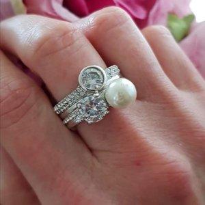 Alisa Ring Silber Perle Zirkonia