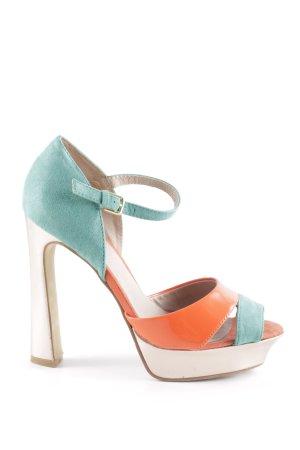 Alisha Talons hauts turquoise-orange fluo style extravagant