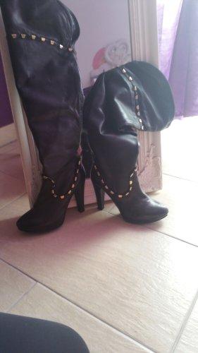Alisha Overknees black leather