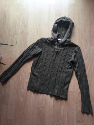 Alive Sweter z kapturem khaki-zielono-szary