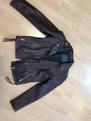 Allsaints Skórzana kurtka ciemnobrązowy