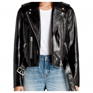 All Saints Bikerjacke Lackleder Patent Leather Blogger Leder Top