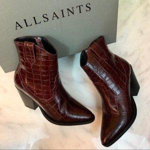 All Saints Boots western bordeau-brun rouge cuir