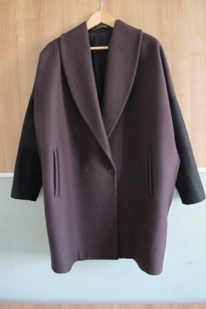 All Saints - Klein Coat Mantel Kontrast Deep Burgundy Aubergine Schwarz oversized