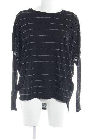 All Saints Longsleeve black-white striped pattern casual look