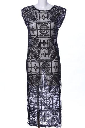 All Saints Midikleid schwarz grafisches Muster extravaganter Stil