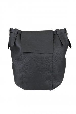 All Saints Laptop Backpack black leather