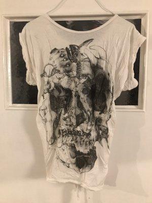 All Saints Shirt met print wit-grijs