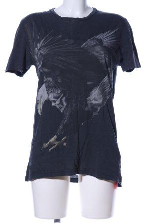 All Saints T-shirt zwart-lichtgrijs prints met een thema casual uitstraling