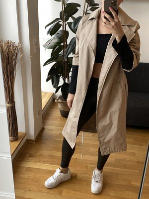 All Saints Trenchcoat Beige Creme leichter oversized Mantel mit Kordel Gürtel Cotton Midi Länge