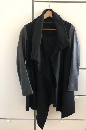 All Saints Wełniany płaszcz czarny Skóra