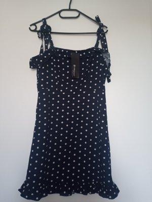 Allegra K. Mini-jurk wit-donkerblauw