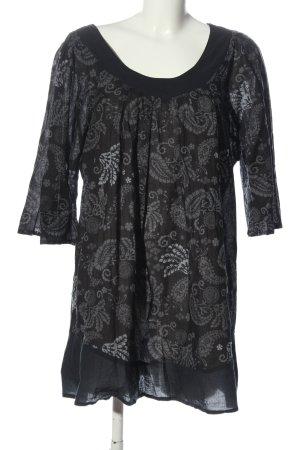 Aller Simplement Short Sleeved Blouse black-light grey abstract pattern