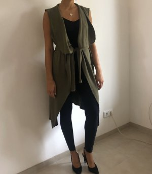 Long Knitted Vest green grey