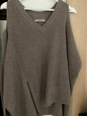 Allsaints Sweter z dekoltem w kształcie litery V taupe