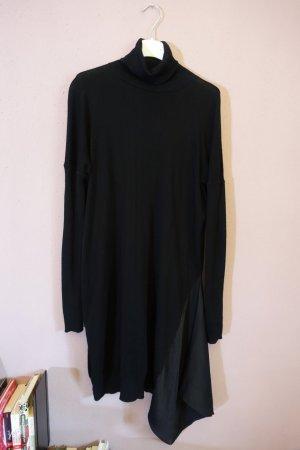 AllSaints Alda Roll Neck Dress, schwarzes Kleid mit Rollkragen, asymmetrisch, Pulloverkleid, Pullikleid
