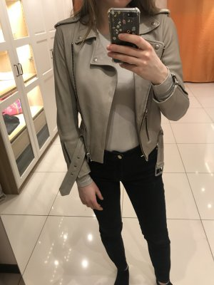 All Saints Leather Jacket silver-colored leather