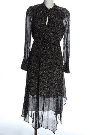 Allsaints Sukienka z długim rękawem czarny-jasnoszary Na całej powierzchni