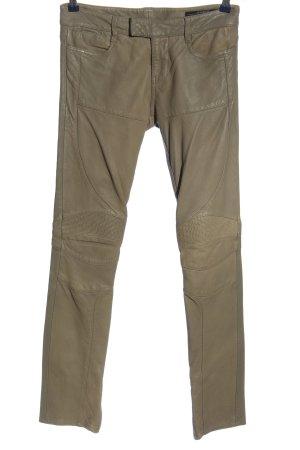 Allsaints Skórzane spodnie szaro-brązowy Imprezowy wygląd