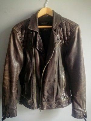 Allsaints Spitalfields Veste en cuir brun noir