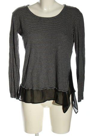 Allsaints Koszulka z długim rękawem czarny-biały Wzór w paski W stylu casual