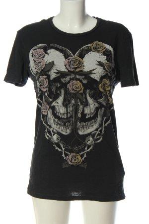 Allsaints Koszulka z nadrukiem czarny-jasnoszary Nadruk z motywem W stylu casual