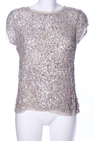 Allsaints Spitalfields T-shirt brązowy-srebrny Z połyskiem