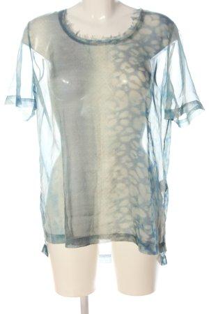 Allsaints Transparentna bluzka jasnoszary-niebieski Wzór w lwa W stylu casual