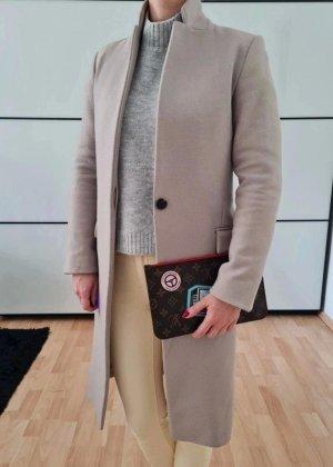 AllSaints Wolle Mantel 32 34 XXS XS grau taupe knit Jacke Cardigan Top Blazer Übergangsmantel