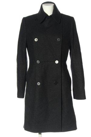 Allsaints Wełniany płaszcz czarny Siateczkowy wzór W stylu casual