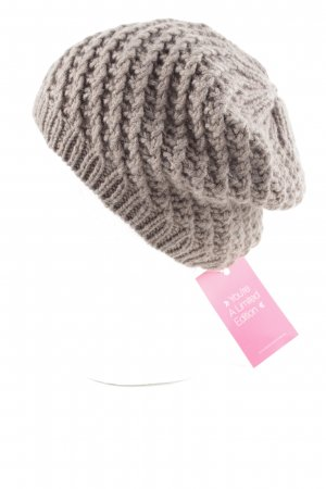 Allude Beanie braun Zopfmuster Casual-Look