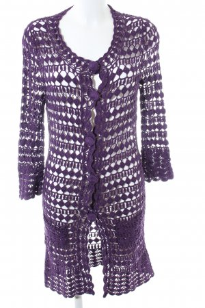 Allude eleganter Mantel purple Seide Leinen Baumwolle High Fashion