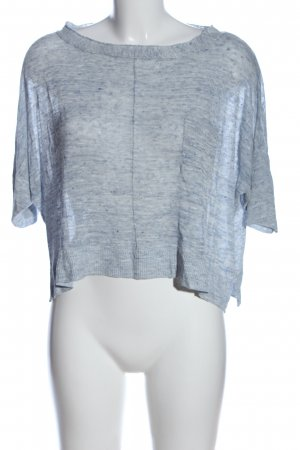 Allude Short Sleeve Sweater blue flecked casual look
