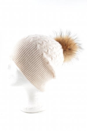 Allude Bobble Hat natural white-light orange cable stitch business style
