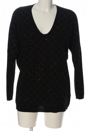 Allude Crewneck Sweater black-silver-colored allover print casual look