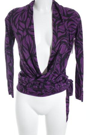 Allude Strick Cardigan lila-schwarz meliert schlichter Stil