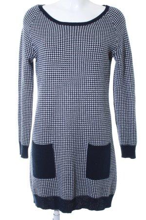 Allude Gebreide jurk donkerblauw-wit gestippeld patroon casual uitstraling