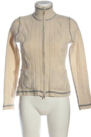Allude Maglione lavorato a maglia crema punto treccia stile casual