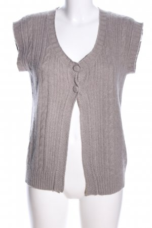 Allude Strickweste hellgrau Zopfmuster Casual-Look