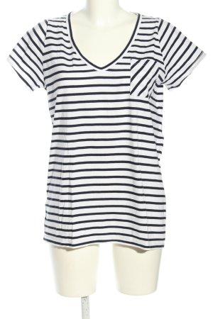 Allude T-shirt biały-czarny Wzór w paski W stylu casual