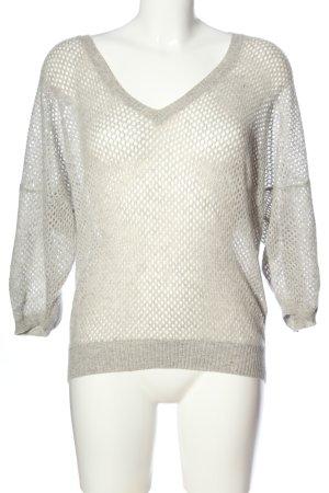 Allude V-Ausschnitt-Pullover hellgrau Casual-Look