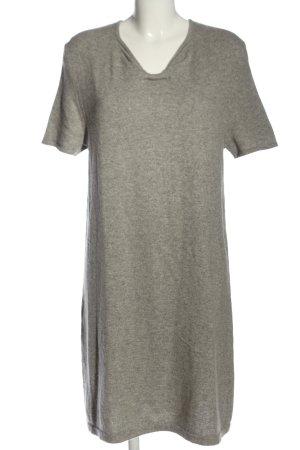 Allude Wollen jurk lichtgrijs gestippeld casual uitstraling