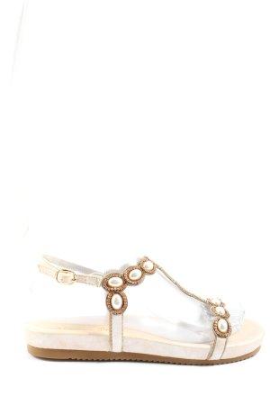 Alma en Pena Sandalias cómodas blanco puro-color oro elegante