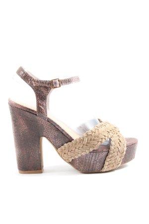 Alma en Pena Plateauzool sandalen bruin-room elegant