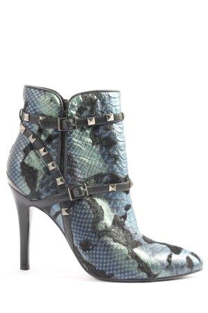 Alma en Pena Zipper Booties blue-black animal pattern casual look