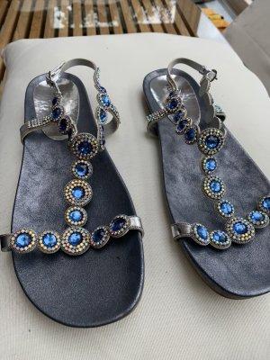 Alma en Pena Sandały japonki z rzemykami srebrny-niebieski
