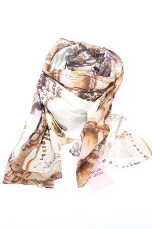 Alma & Lovis Sciarpa estiva bianco-marrone motivo astratto stile casual