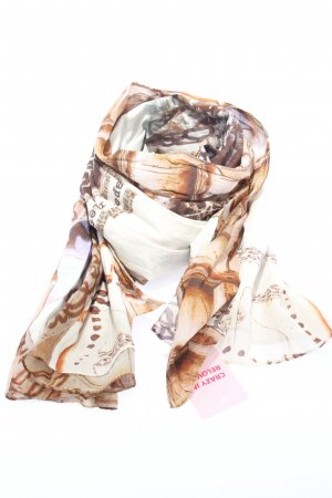 Alma & Lovis Szal letni biały-brązowy Abstrakcyjny wzór W stylu casual